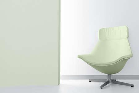 green luxury armchair in empty light room photo