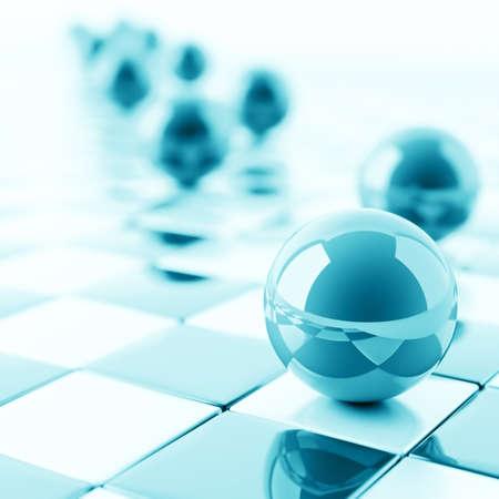 esfera de cristal: resumen de las bolas de color azul brillante en el fondo a cuadros Foto de archivo