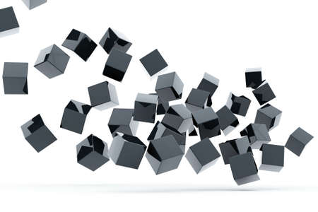 three objects: Falling and hitting gray metallic cubes on a white background Stock Photo