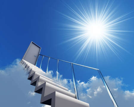 adversity: stair and door in clouds on a background sky and sun