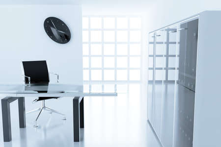 office cubicle: Light modern cubicle with a table and an armchair in a time off