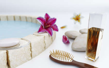 Flowers stones and soap near water in spa salon photo