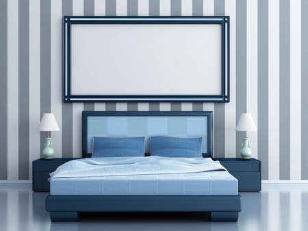 style sheet: bedroom with a bed and bedside tables in blue tones