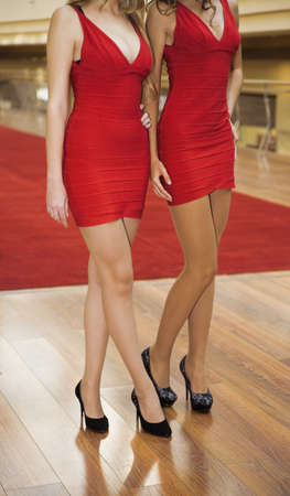 Two young women in beautiful red dresses photo