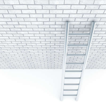 Metal ladder and a wall of white bricks photo
