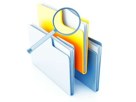 magnification: yellow and blue folders with papers under magnification