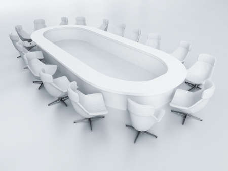 business armchairs and a table to a modern meeting room photo
