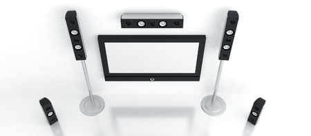 home theater: Modern home theater with the big plasma and high quality acoustics