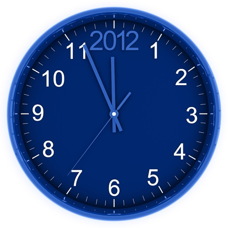 blue round clock with arrows and number 2012  in the top part photo