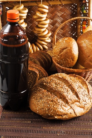 non alcoholic beer: Kvass and grain products as natural food background Stock Photo