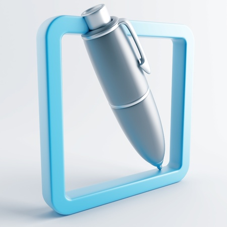 writing instrument: Icon in gray-blue color on a white background Stock Photo