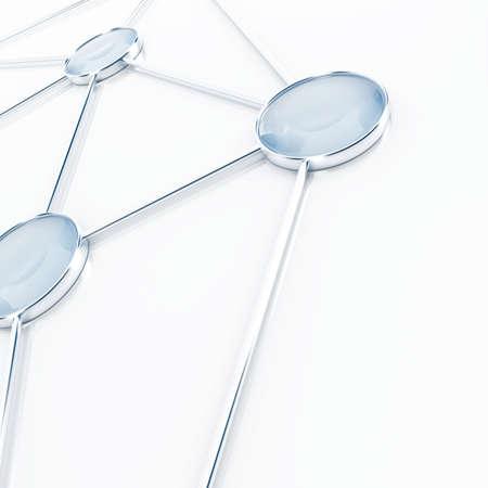 通訊: 連接在一起的白色背景上的抽象基地 版權商用圖片