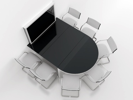 rounded table, chairs and screen for presentations in modern meeting room photo