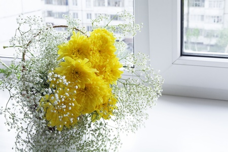 Fresh spring flowers in a vase on a window sill photo