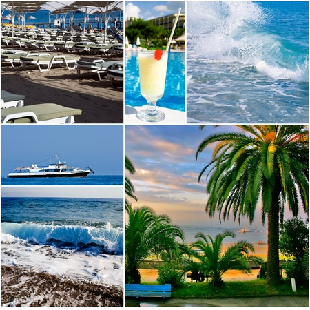 Blue sea waves and other objects on a holiday and vacations theme Stock Photo - 12231762