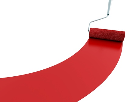 platen: Strip of a red paint and the painting platen