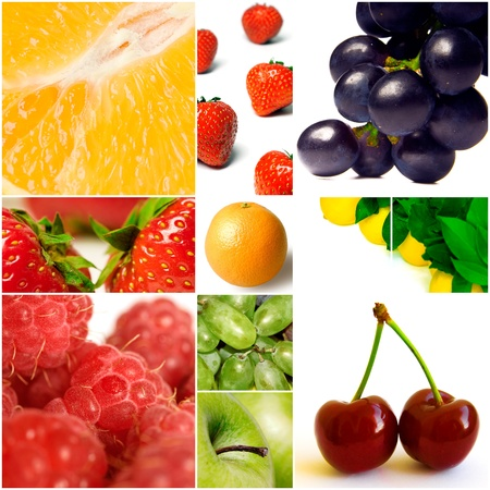 citrous: Berries and other fruit on a white background