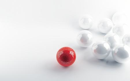 White spheres and red sphere in a kind puzzle photo