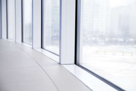 window view: empty light big hall with glass windows