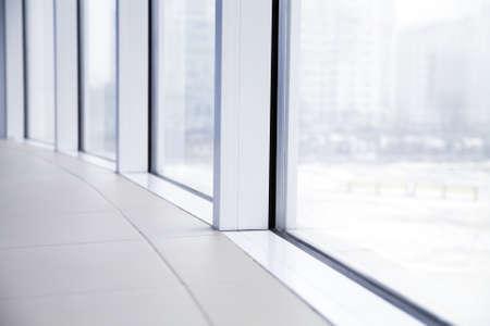 window light: empty light big hall with glass windows