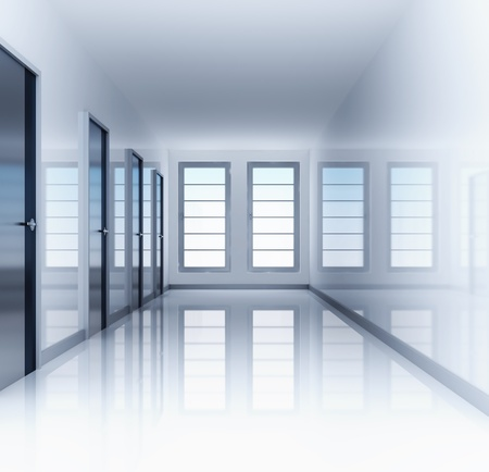 Clear and empty hall with doors and windows Stock Photo