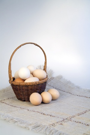 Eggs in a basket on a rag napkin photo