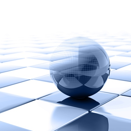 wired: blue metallic ball with visible wired structure Stock Photo
