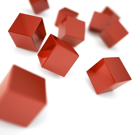 connection block: Falling and hitting red cubes on a white background Stock Photo