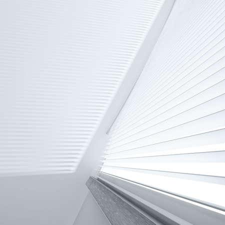 window shade: Abrir persianas y sombras en la pared de la luz desde una ventana