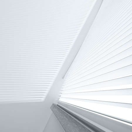 blinds: Open jalousie and shade on a wall from light from a window Stock Photo