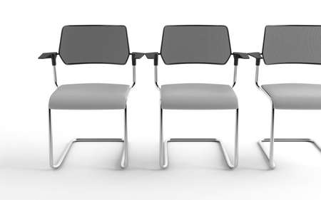 Three modern chairs isolated on a white background photo