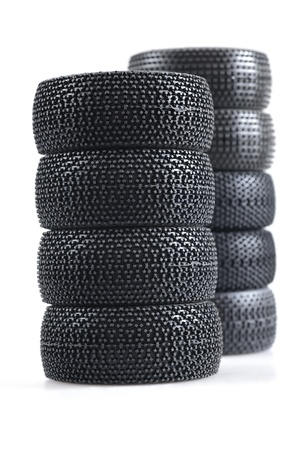 stack of spare auto tires on a white background Stock Photo - 12902130