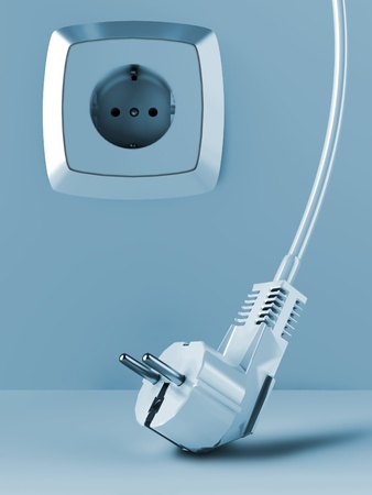 cable and electric plug on a background with electric socket Stock Photo