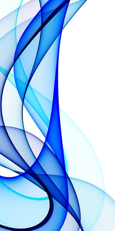 swirly design: Smooth waves from blue tones on a white background Stock Photo