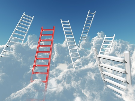 white and red stairs rising in clouds on a background blue sky photo