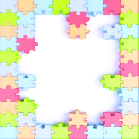 three dimensional background: Parts of a puzzle with funny colors on a white background
