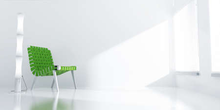 light room with a green chair and light from a window photo