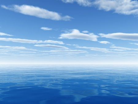 rippled: cloudy blue sky leaving for horizon above a blue surface of the sea Stock Photo