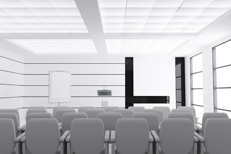 empty modern conference room with microphones and visual board and chairs Stock Photo - 13359773