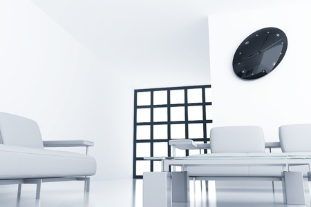 modern room with chair and clock on white wall photo