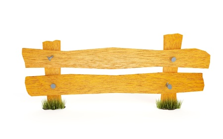 yellow wooden fence on a white background Stock Photo - 13359777