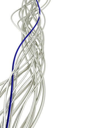 bright metallic fibre-optical blue and white cables on a white background photo
