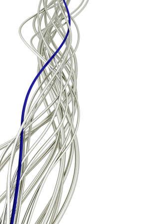 fibra óptica: brillantes metálicos de fibra óptica cables azul y blanco sobre un fondo blanco