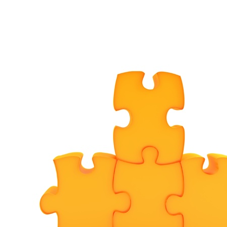Parts of a puzzle with funny colors on a white background Stock Photo - 13620128