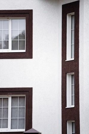 windows and white wall of modern house photo