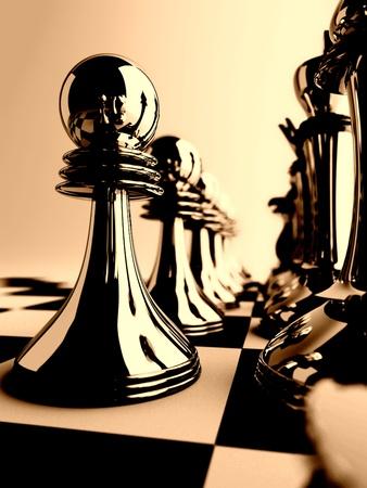 inteligencia: piezas de ajedrez de color oscuro a cuadros a bordo Foto de archivo