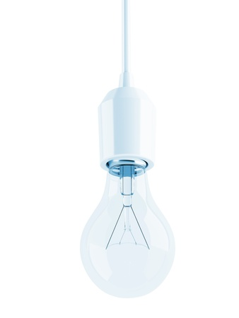 glass transparent light bulb on white background photo
