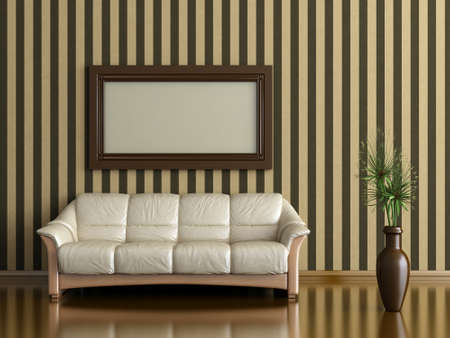 interior with sofa and plant in a vase on a background of striped wall Stock Photo - 15793055
