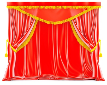 red velvet curtains with golden tassels photo