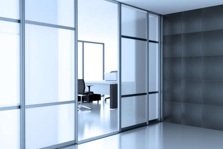 open glass door coupe in empty cubicle photo